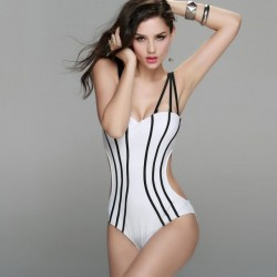 Vintage sexy side cut out Monokini push up 3 Strap Swimsuit White with Black Strips