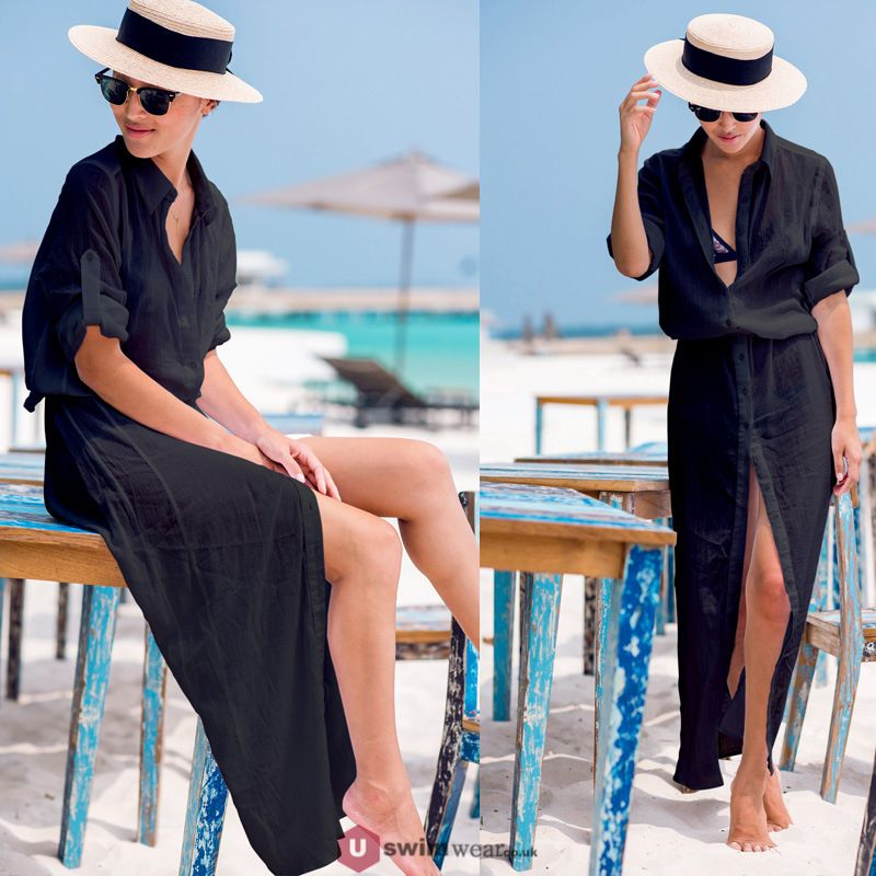 0c4495551357 ... Women s Long Sleeve Chiffon Swimsuit Cover up Fashion Beachwear Uk  Tunic Buttons High Split Long Shirt