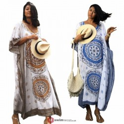2019 New Beach Cover up Rayon Print Swimwear Ladies Beach Long Dress Tunic Bohemia Women Kaftan
