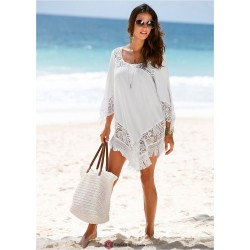 2018 New Style Women Beach Dress Uk White Lace Chiffon Tassels Casual Beach Dress O-Neck   Mini Asymmetric Dresses Bikini Cover-Ups