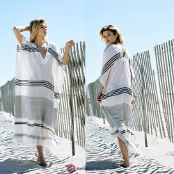 2019 New Women Beach Dress V-neck Summer Striped Cover Up Long Bikini Bathing Suit Cover Ups Beach Wear Short Sleeves Swimsuit Cover up Dress