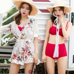 2019 New 3 Piece Red Bikini Set Summer Swimwear Bikini Women Sexy Halter Bikini Short Bottom Beach Cover Up Dress Tunic Beachwear