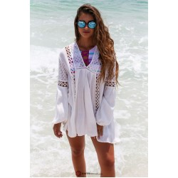 2019 New White Lace Crochet Beach Tunic Women Beach Wear V Neck Long Sleeve Bikini Cover Ups Hollow Out Mini Beach Dress