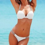 Fashion Nylon and Spandex Sexy Beach Swimwear Uk For Women Pure Color Bikini Set