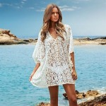 Fashion Lace Hollow Crochet Swimwear Uk For Women Swimwer Bikini Dress Beach Cover Up