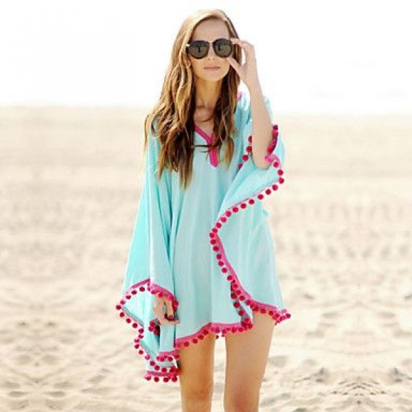 Fashion Swimwer Bikini Beach Cover Up Sun Prevention Mini Dress