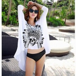 Fashion Sexy White Cotton Black Skull Sun Prevention Beach Cover-up