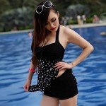 Fashion Polka Dot Bow Knot Halter One-piece
