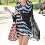 'S Crew Neck Chiffon Striped Oversized Batwing Sleeve Fashion Bikini Cover Up