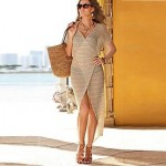 Sexy Fashion Wrap Beach Cover Up Dress with Short Sleeve