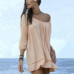 Fashion Solid Cotton Hollow Crochet Swimwer Bikini Beach Cover Up Sun Prevention Mini Dress