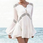 Fashion Sexy Cotton Hollow-out Kintwear Long Sleeve Sun Prevention Beach Cover-up