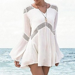 Fashion Sexy Cotton Hollow Out Kintwear Long Sleeve Sun Prevention Beach Cover Up