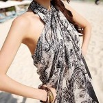 Bohemia Black and White Cashew Flower Chiffon Beach Towel