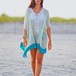 Fashion Sexy White Chiffon Hollow Out Kintwear Sun Prevention Beach Cover Up