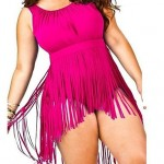 Sexy Plus Size Pure One Piece Swimwear Uk For Women with Tassels