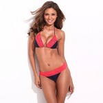 Chic & Fantastic – RELLECIGA Solid Black + Red Lace Triangle Bikini Set with Braided Ties and Light Removable Padding