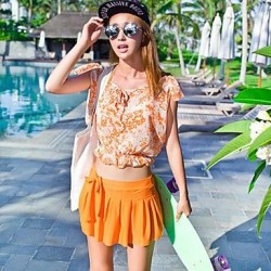 Gathered Skirt Type Bikini Multi Piece Swimsuit Uk For Women