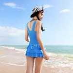 Colorful Stripes Bikini Ruffle Ruched One Piece Swim dress Swimsuit Uk For Women Bathing Suit