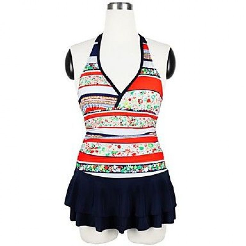 5dfa678a5a3a6 ... Deep-V Plus Size Floral Layered Ruffle Swim Dress One-Piece Swimsuit Uk  For ...