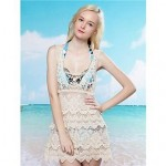 Fashion Sexy Beige Hollow-out Knitwear Beach Veat Dress