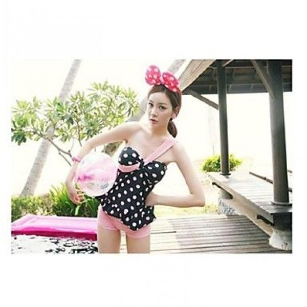 Popular Lovely Pink Point Inclined Shoulder Nylon and Spandex Two-Pieces Swimsuit Uk For Women
