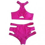 Sexy Fashion Hollow Rose Red Ring Necked High Waisted Push Up Bikini Swimsuit Uk For Women