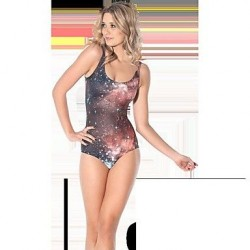 Korean Star Pattern Slim One-piece Bathing Suit