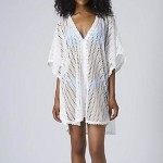 Fashion Sexy Deep-v White Hollow-out Kintwear Sun Prevention Beach Cover-up