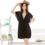European and American Style Black V-Neck Beach Dress
