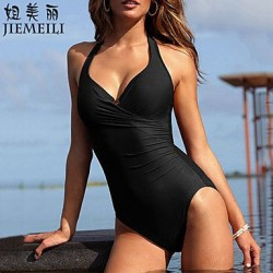 JIEMEILI Wireless Solid Halter One Pieces Cotton Blends