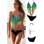 Gradient Rainbow Long Fringe Bikini