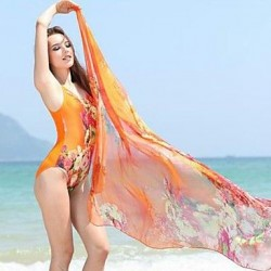Floral Prints One Piece Swimwear Uk For Women Without Scarf