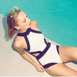 Push-up Color Block Halter One-pieces (Modal)
