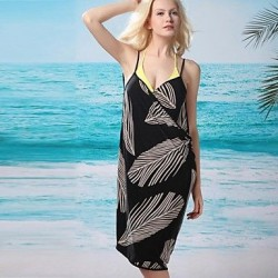 Sexy Leaf Print Halter Wrap Beach Cover-Up Dress