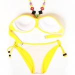 Street Chic - RELLECIGA's Fashionable Doodle Print Triangle Top Bikini Set with Neon Yellow Ties and Removable Padding