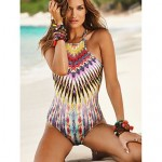 Polyester Europe Style Wireless Geometric Straped One-pieces Swimwear Uk For Women