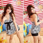 Black & White Zebra Bow Knot Tankini Swimsuit Uk For Women