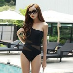 Polyester Wireless Black Sexy Solid One-pieces Swimwear Uk For Women