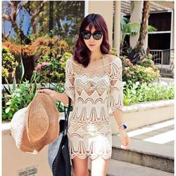 Fashion Hollow Crochet Half-Sleeve Swimsuit Uk For Women Swimwear Uk For Women Bikini Dress Beach Cover Up
