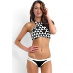 High Neck Color Block Halter Summer Sexy Bikinis (Polyester/Spandex)