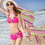 Chic Stripe Ruffle Push Up Sarong Bikini Set Swimsuit Uk For Women Bathing Suit