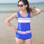 Color Block Halter One-pieces (Polyester)