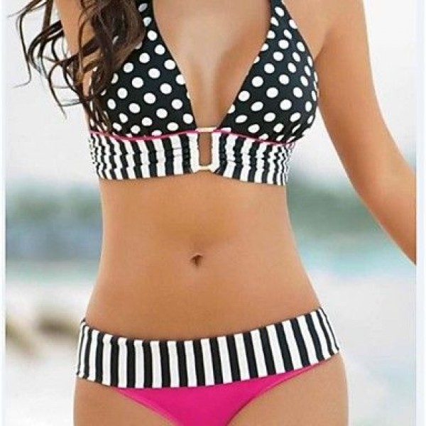 Polyester Polka Dot And Stripe Sexy Bikinis Swimwear Uk For Women with Pad And Wire