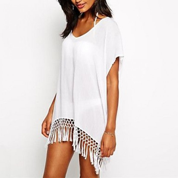 Fashion Solid Chiffon Swimwer Bikini Beach Cover Up Sun Prevention Mini Dress