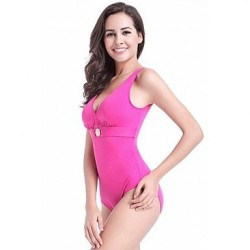 Free Shipping Vintage Buckled Center Removable Push Up Padding Plus Big Size XXXL One Piece Swimwear Uk For Women Women