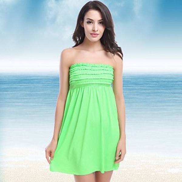 New Arrival Hot Wholesale Fashion Mini Ruffles Top Back Tied Bandage 2016 Sexy Bathing Suit Cover Ups11 Colors