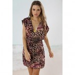 Fashion Pink&Coffee Leopard Deep-v Bikini Swimwear Uk For Women Swimsuit Uk For Women Beach Cover-up Mini Dress