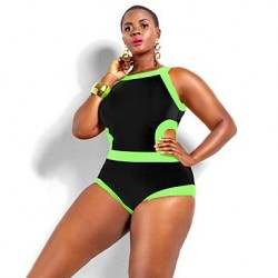 Polyester Wireless Color Block Plus Size One-pieces Swimwear Uk For Women