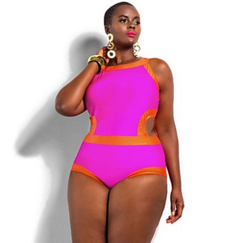 f5b3691a2d512 ... Polyester Wireless Color Block Plus Size One-pieces Swimwear Uk For  Women ...